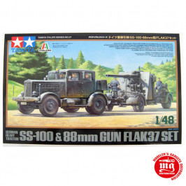 GERMAN HEAVY TRACTOR SS-100 AND 88 MM GUN FLAK37 SET TAMIYA 37027