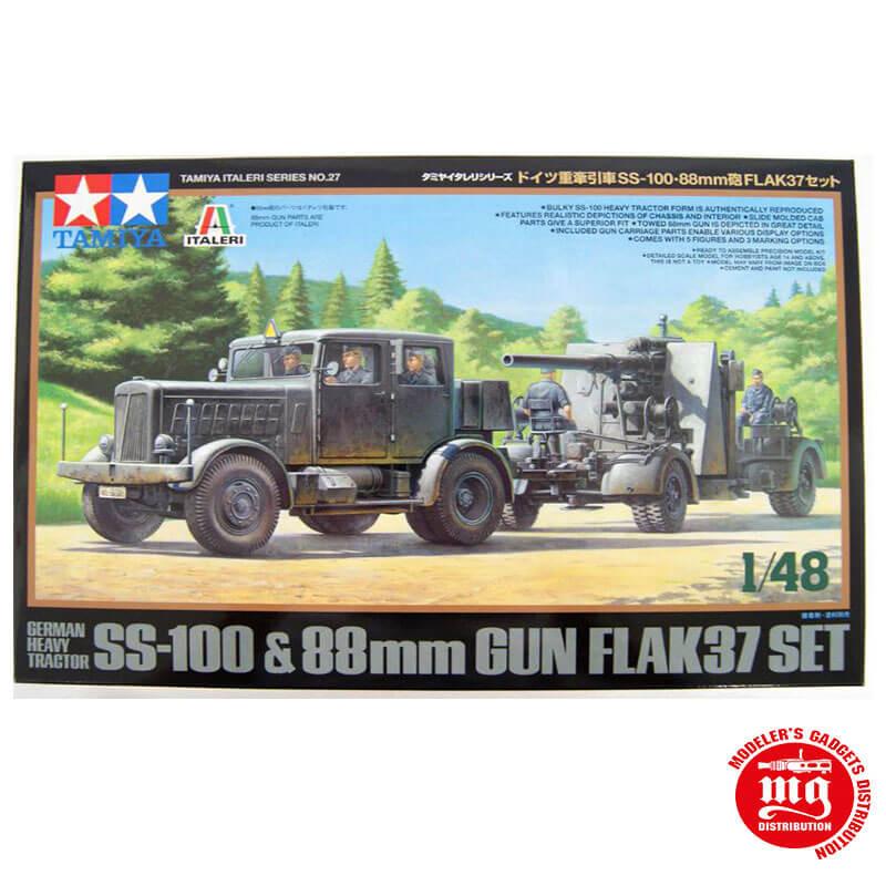 GERMAN HEAVY TRACTOR SS-100 AND 88 MM GUN FLAK37 SET TAMIYA 37027