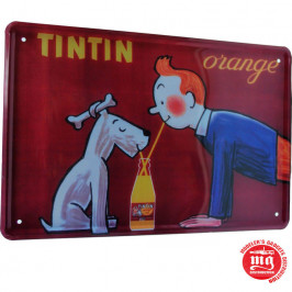 CARTEL METALICO TINTIN ORANGE