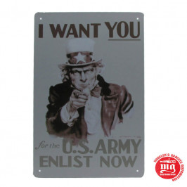 CARTEL METALICO TIO SAM I WANT YOU FOR THE U.S. ARMY ENLIST NOW