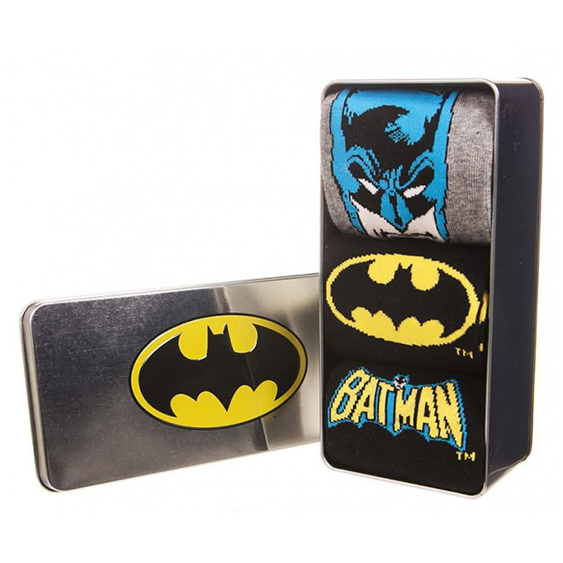 BATMAN-PACK-DE-3-PARES-DE-CALCETINES-CON-LATA-METALICA