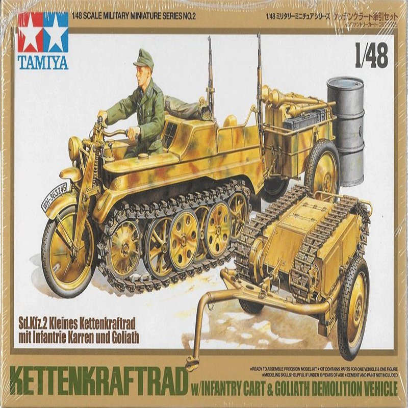 KETTENKRAFTRAD-WITH-INFANTRY-CART-AND-GOLIATH-DEMOLITION-VEHICLE TAMIYA 32502