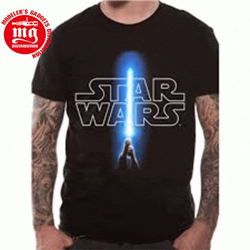 CAMISETA-STAR-WARS-DISEÑO-LOGO-Y-SABLE