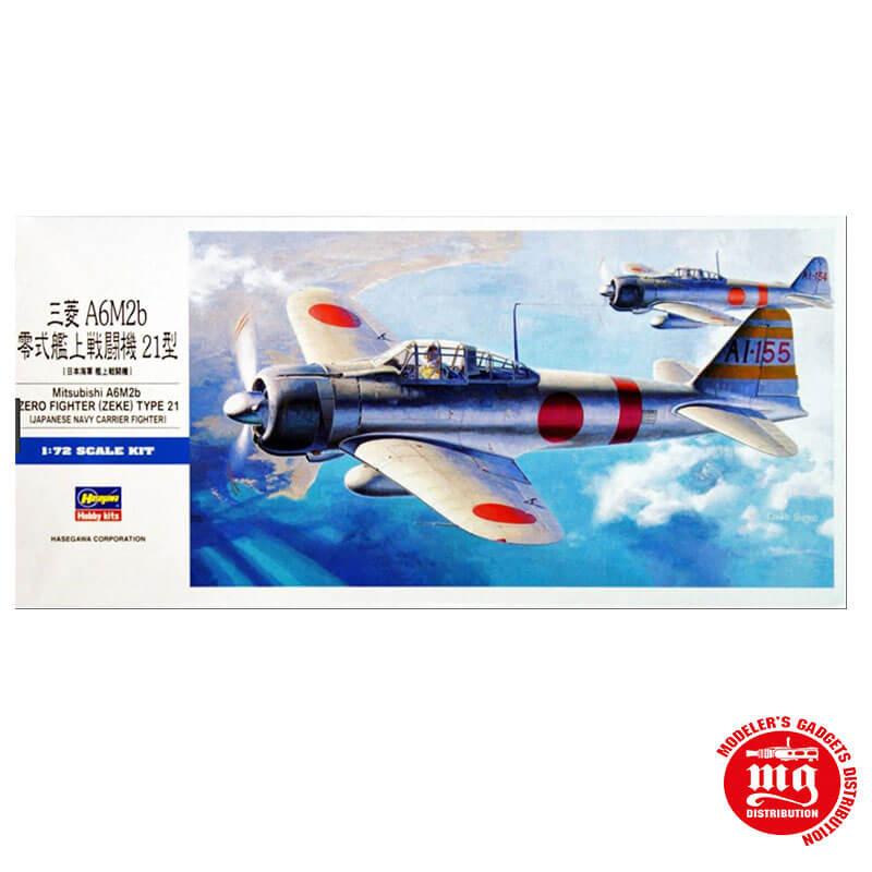 MITSUBISHI A6M2b ZERO FIGHTER ZEKE TYPE 21 JAPANESE NAVY CARRIER FIGHTER HASEGAWA 00451